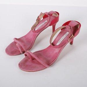 DVF pink patent sandals kitten heels size 10 M